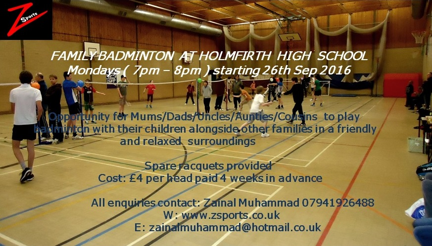 New Junior Badminton session at Holmfirth High School started 26th Sep 2016